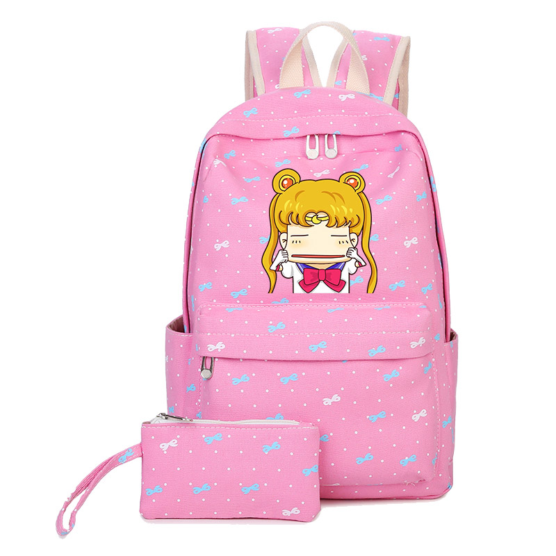 Sailor Moon Cartoon Printing Backpack Kawaii Women Backpack Canvas School Bags For Teenage Girls Rucksack Travel Backpack