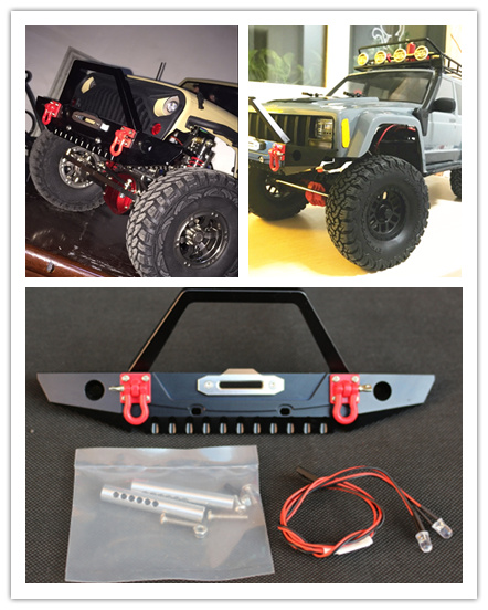 GWOLVES 1:10 Metal Front bumper Collision avoid can use winch with Trailer ring led Light for Axial SCX10 90046 RC Crawler Car set j40 black steel different trail front bumper w winch plate
