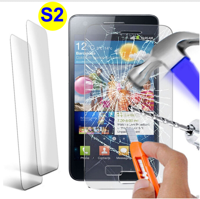 Anti-Shock Tempered Glass Screen Protector for Samsung Galaxy S II S2 GT-I9100 I9108 Round Edge 2.5D Glass Film Cristal Templado