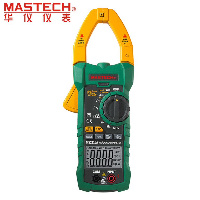 Mastech MS2115A 6000 Counts True RMS Digital Clamp Meter AC/DC Voltage Current Tester with INRUSH and NCV Measurement mastech ms2115b digital ac dc clamp metewith 6000 counts ncv true rms ac dc voltage current tester detector with usb