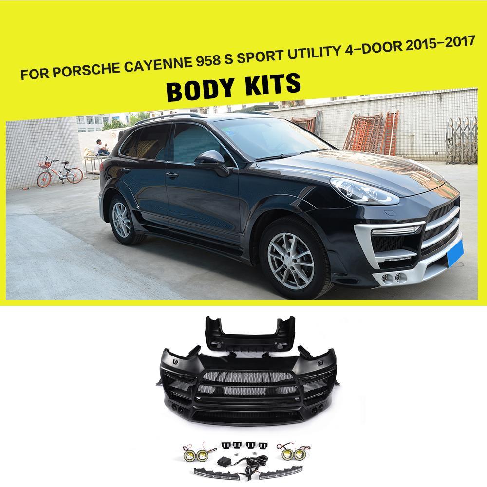 Frp car body kits bumper side skirts wheel arch for porsche cayenne 958 s sport utility