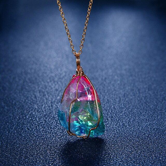 Rainbow Stone Natural Crystal Chakra Rock Necklace Quartz Pendant Nice Gift  Dropshipping 5