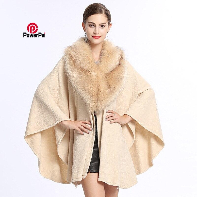 Fashion Week Noble Women Winter Knit Cashmere Fox Fur Overcoat Shawl Cloak Coat Long Loose Luxury