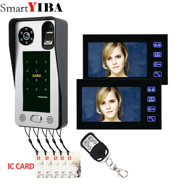 SmartYIBA 7 Inch Monitor Wired Video Door Phone Doorbell Entry Intercom KIT Fingerprint RFID Password with 2 monitorSmartYIBA 7 Inch Monitor Wired Video Door Phone Doorbell Entry Intercom KIT Fingerprint RFID Password with 2 monitor