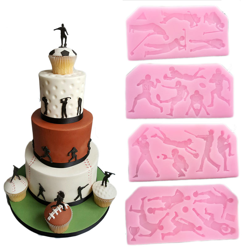 fondant cake decorating Football Rugby Golf baseball cake silicone mould wedding sports cake design silicone chocolate mold
