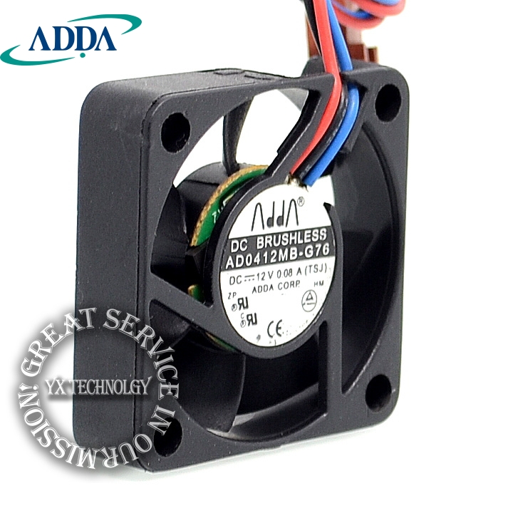 ADDA AD0412MB-G76 4010 4cm 40mm DC12V 0.08A ultra silent fan uble ball bearing (2pcs/lot) high quality new ym1204pfb3 4010 4cm 12v 0 04a ultra quiet double ball bearing fan for first union 40 40 10mm