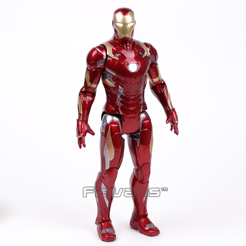 Iron Man MARK XLVI MK46 with LED Light PVC Action Figure Collectible Model Toy 35cm marvel iron man mark 43 pvc action figure collectible model toy 7 18cm kt027