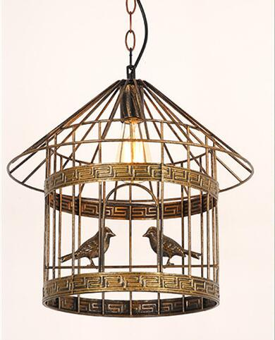 American retro iron bird cage chandelier creative personality Nordic industrial cafe restaurant bar bar bird chandelier WPL250 indoor lighting bird cage restaurant cafe bar desk study chandelier retro bird balcony chandelier