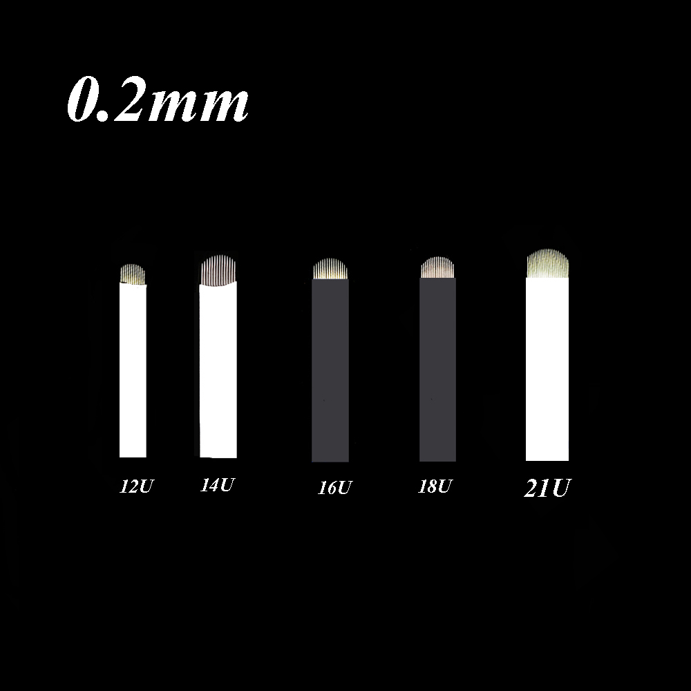 Sensible 100pcs 0.2mm Microblading 18 U Shape Tattoo Permanent Makeup Manual Eyebrow Needle 3d Embroidery 18 Pins Black Blades Tattoo Needles
