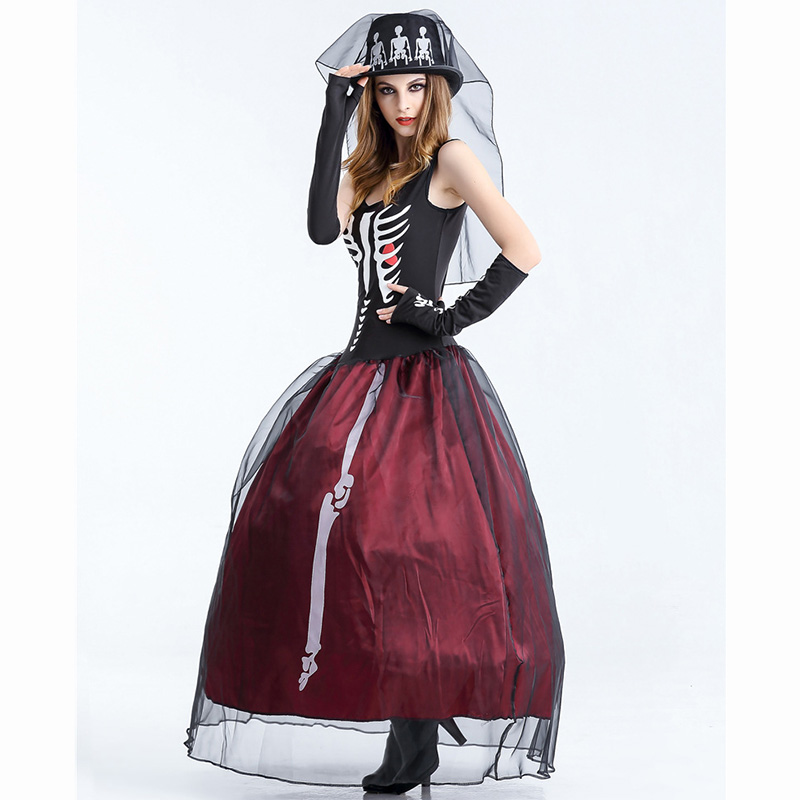 84bda3923 Aliexpress.com : Buy Carnival Deguisement Adultes Adult Zombie Halloween  Costumes Ghost Bride Costume Women Skeleton Dress Plus Size Cosplay Clothing  from ...