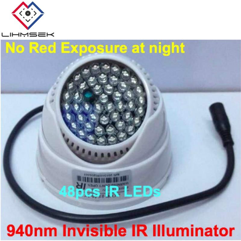 bilder für Neue Indoor IR Infrarotscheinwerfer 940nm Wellenlänge IR LEDs 48 stücke Dome Typ CCTV IR Strahler Lampe, freies Verschiffen