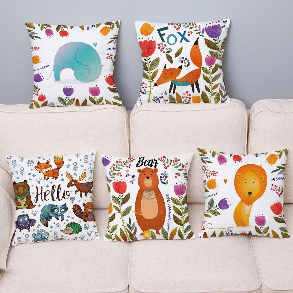 Super Soft Plush Throw Pillow Case Cute Cartoon Forest Animal Bear Fox Cushion Cover 45*45 Pillow Covers Home Decor Pillowcase