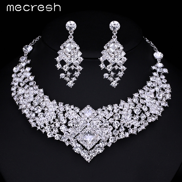 Mecresh  Gorgeous Crystal Bridal Jewelry Sets Wedding Jewelry Accessories Necklace Earrings for Women Party Free Shipping TL014