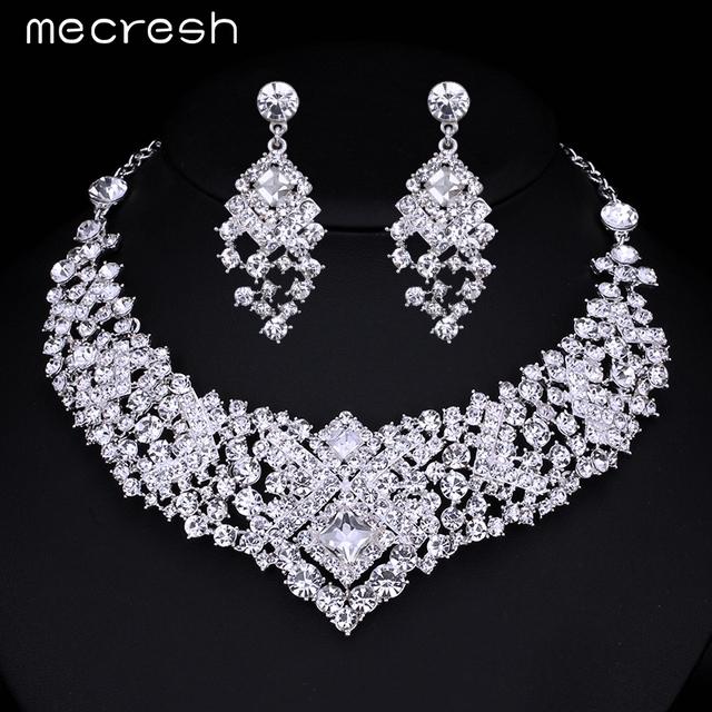 Mecresh Lindo Cristal Nupcial Jóias Conjuntos de Jóias de Casamento Acessórios Colar Brincos para Mulheres Do Partido Frete Grátis TL014