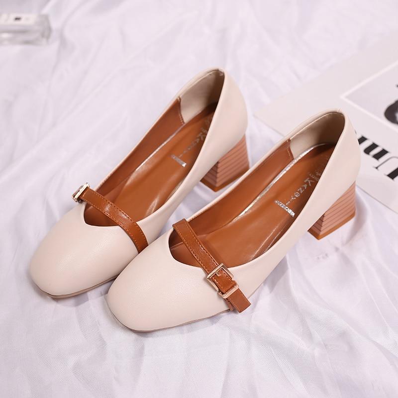 Mujeres Bombas Talones Zapatos Mujer Eleganet Grueso Talón Casual - Zapatos de mujer - foto 2