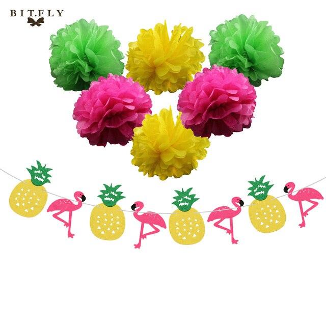 paper flower flamingo pineapple leaves banner hawaiian luau summer beach party decoration wedding birthday festival supplies