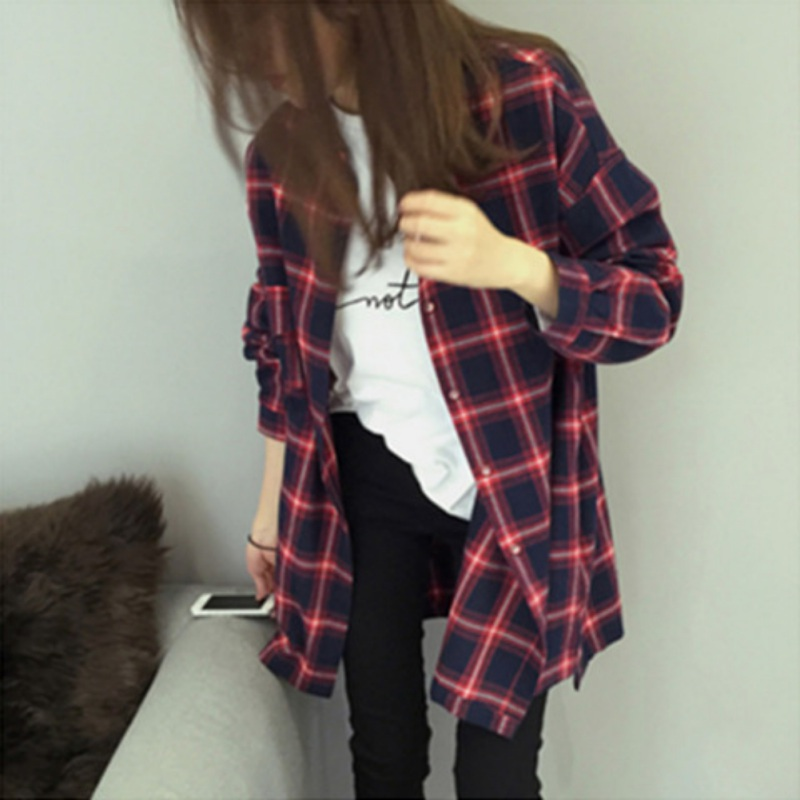 Loose Cotton Checkered Plaid College Blouses Shirt 2019 Female Long Sleeve Casual Women Blouse Shirt Office Lady Tops