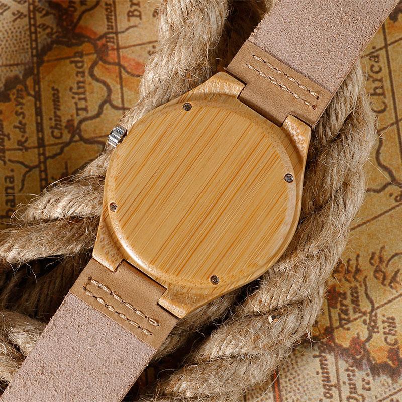 Egyedi kreatív barna fa óra Natrual fa bambusz kézzel készített - Férfi órák - Fénykép 6