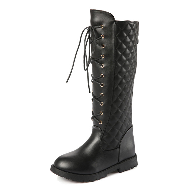 Girl Mid-Calf Fashion Boots Leather Solid Black Boots for Girl Long high Cross-Tied Princess Shoes