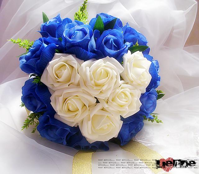Bluelover la nueva de corea en forma de corazón novia con flores rosas azules de la flor mano de la boda