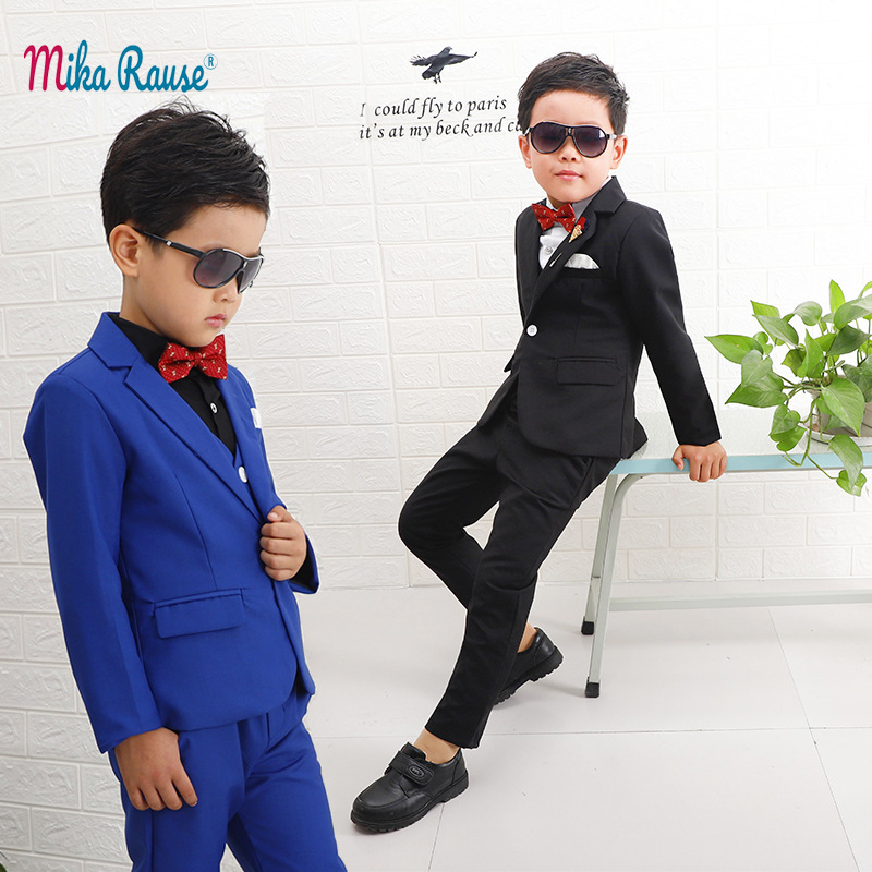 New 3pcs Kids Black Suits Boys Casual Blazers Children Tuxedo Flower