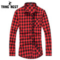 TANGNEST Chemise Homme 2017 Spring Summer Casual Plaid Fashion Long Sleeve Men Shirt Turn-down Collar Shirts Male MCL1555