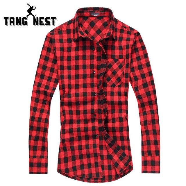 Tangnest chemise homme 2017 primavera verano moda de manga larga a cuadros informal camisa de los hombres da vuelta-abajo camisas de cuello masculino mcl1555