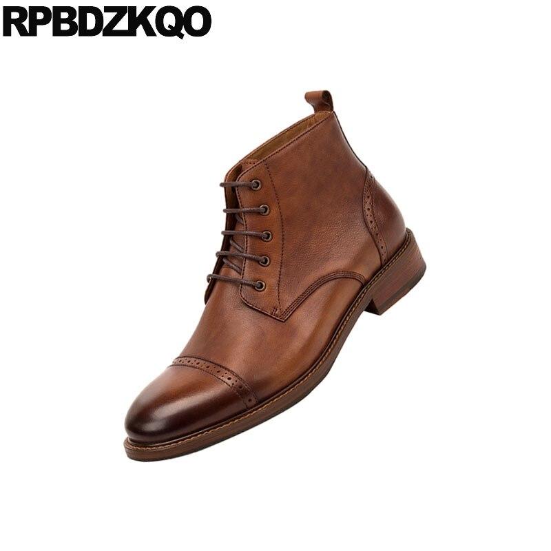 Ankle Coffee De Sapatos verde Handmade Vestido Boots Oxford Pulseira Grão Plus Retro Qualidade Couro dark Genuíno Marrom Alta Grife Homens Brogue Cheio Size Brown Formal PSPqvwBr
