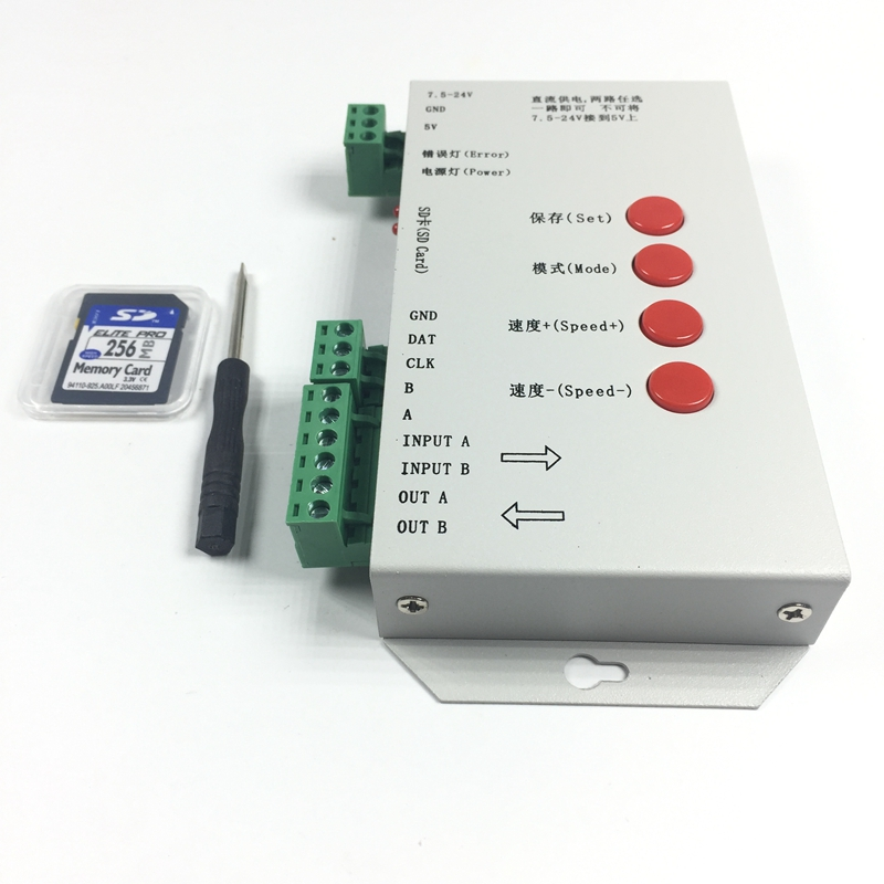 Original T1000S led pixel module Controller 2048 Pixels with SD card for WS2801 WS2811 LPD6803 RGB full color RGB play video SPI image