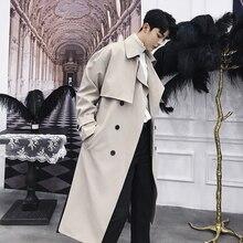 MIXCUBIC 2018 di Autunno di stile Coreano Unico Drappo giacche trench per gli uomini Lungo tratto di allentato casuale Giacca A Vento giacche uomini, M XXL