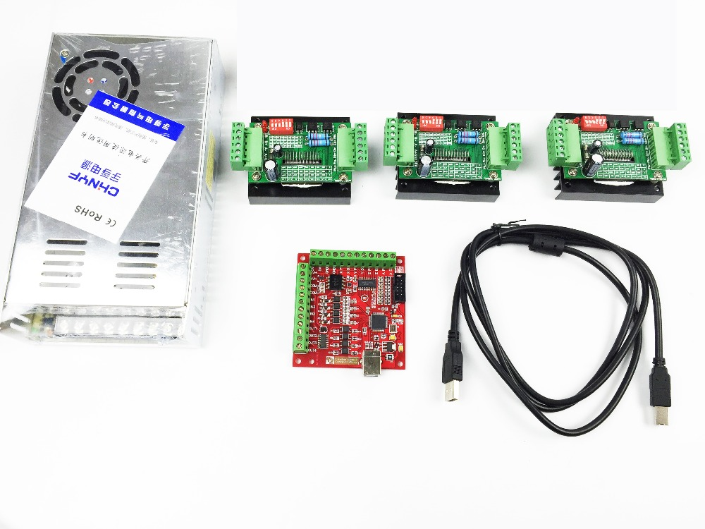 CNC mach3 USB 3 Axis Kit, 3pcs TB6560 driver+ mach3 USB stepper motor controller board+power supply free shipping high quality 4 axis tb6560 cnc stepper motor driver controller board 12 36v 1 5 3a mach3 cnc 12
