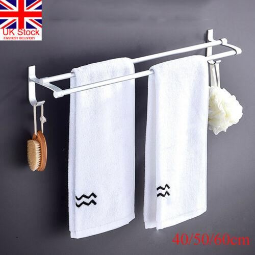 UK 40/50/60cm Towel Rail Rack Holder Double Wall Mounted Bathroom Shelf Chrome