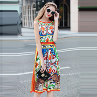Europe Station 2018 Spring New Pattern Phoenix FLOWER Tiger Location Printing Sleeveless One Word Lead Dress New Product