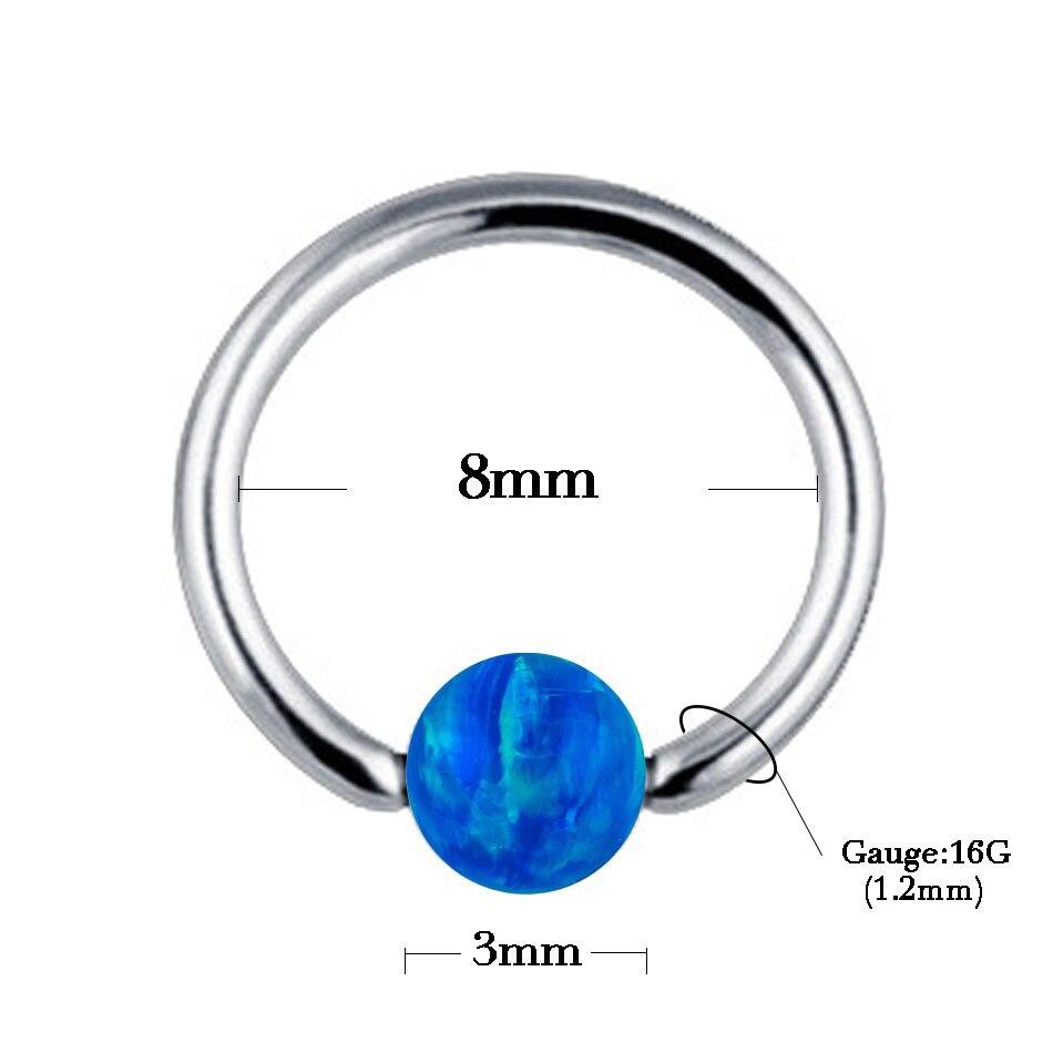1pc 1,0 * 8 mm opal kameni zarobljeni perli prsten Piercing nosovi - Modni nakit - Foto 6