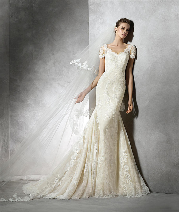 lace mermaid wedding dresses sexy v back high waist wedding gowns short sleeve slim fit wedding dress wedding dress wed90042 in wedding dresses from