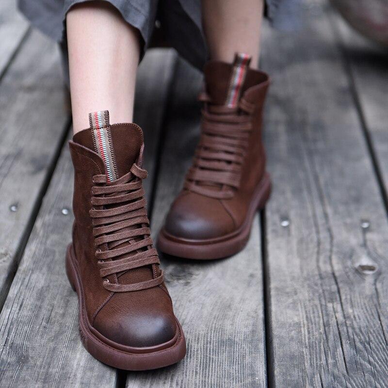 Artmu oryginalny jesień i buty damskie zimowe nowe oryginalne skórzane buty Martin Retro brytyjski uczeń buty wysokość zwiększenie 6652 w Buty do kostki od Buty na  Grupa 1
