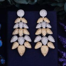 GODKI 67mm Luxury Popular Feather Leaf Full Mirco Paved Cubic Zirconia Naija Engagement  Earring Fashion Jewelry