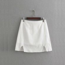 a156c022fc 2019 new fashion women solid color side slit mini skirt casual lady A-Line  skirts