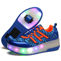 Ultra-light Children LED Light Roller Shoes Boy Girls Automatic Button Skate Roller Shoes Kids glowing Sneakers With Wheels