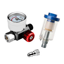 Pneumatic Spray Gun Air Regulator Gauge & Air Filter Kit for Paint Spray Gun Accessories In-line Water Trap Filter Power Tools amh550 06d smc filter element auxiliary components pneumatic component air tools filter series