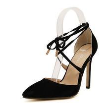 เป็นบางเซ็กซี่จุดนิ้วเท้าส้นสูงปั๊มรองเท้าผู้หญิงสีแดงกริชข้อเท้าสายรัดส้นรองเท้ารองเท้าแต่งงาน