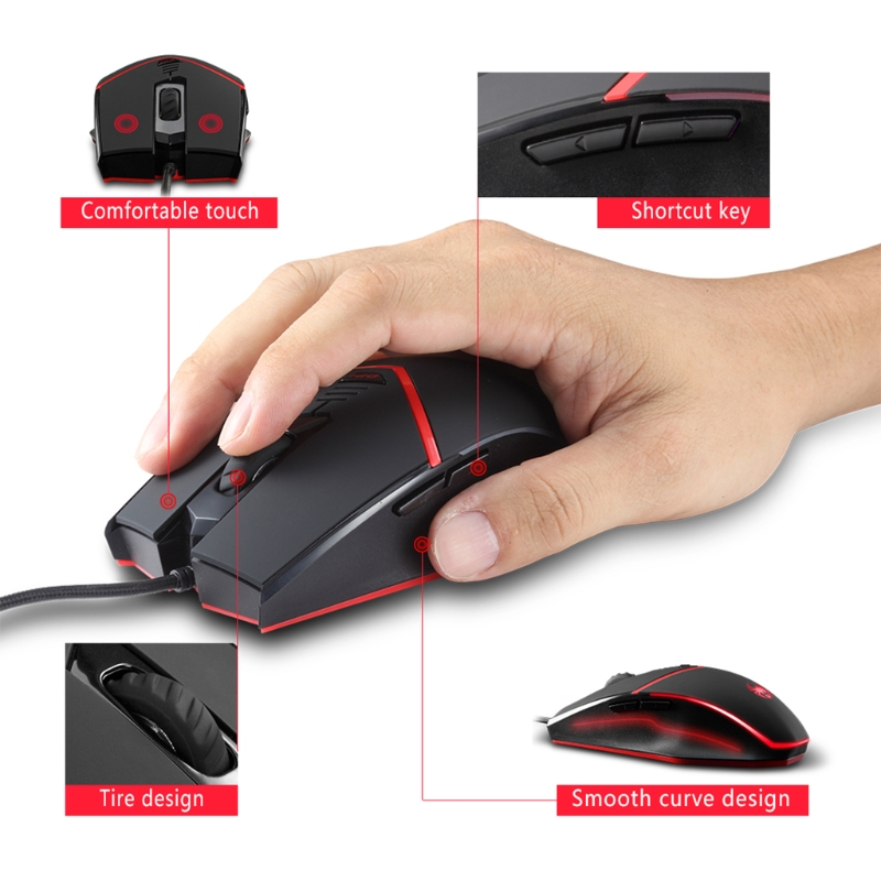 New 6Buttons C13 Gaming Mouse LED Wired 3200 DPI Programmable Mice For Pro Gamer PC hot