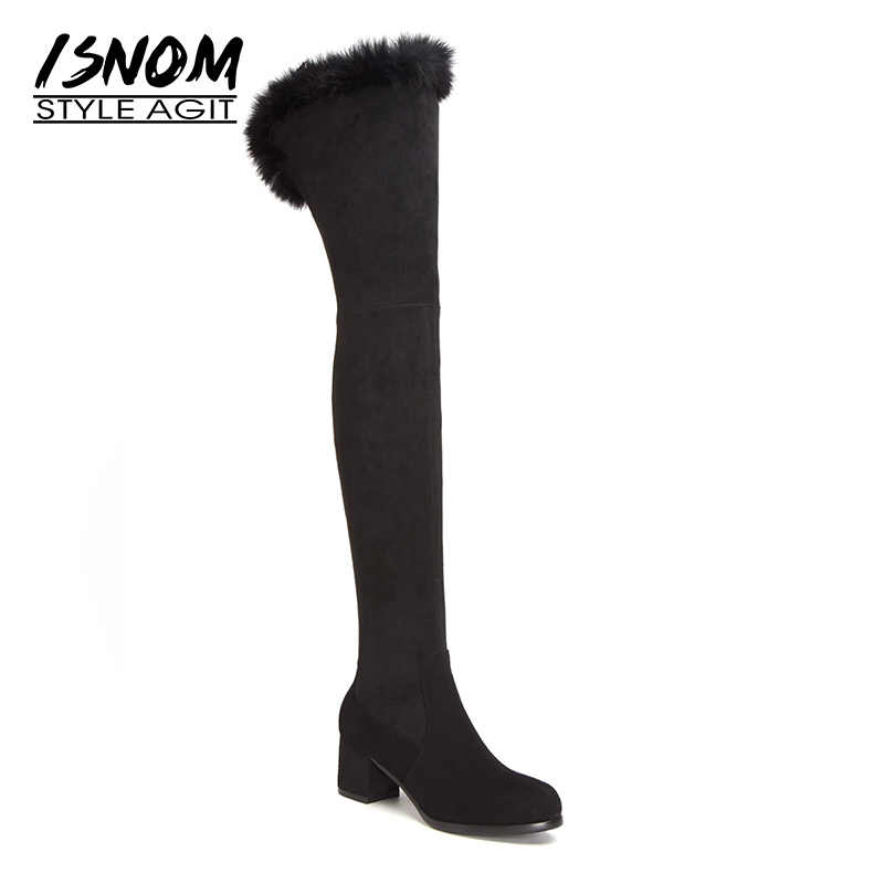Warm Fur Over Knee Boots Square High Heels Female Shoes Woman High Quality Genuine Leather Suede Winter Boots Zip Brand Designer