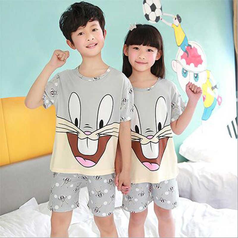 2017 children pajamas set kids baby girl boys cartoon casual clothing  costume short sleeve children sleepwear fa572e217