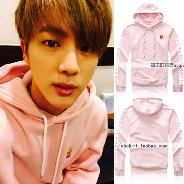 Winter New BTS Bangtan Boys jin Kim Suk Jin paragraph fries with pink sweatshirt  loose coat tide hoodies
