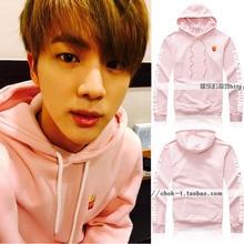 Winter New BTS Bangtan Boys jin Kim Suk Jin paragraph fries with pink sweatshirt loose coat tide hoodies