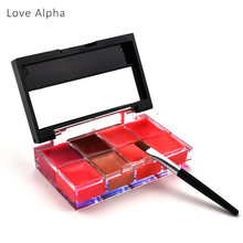 LOVE ALPHA Lips Makeup Brand Girl Woman Pro 8 Colors Make Up Lip Gloss Lipstick Cream Palette Set Beauty Brand Matte Lipstick