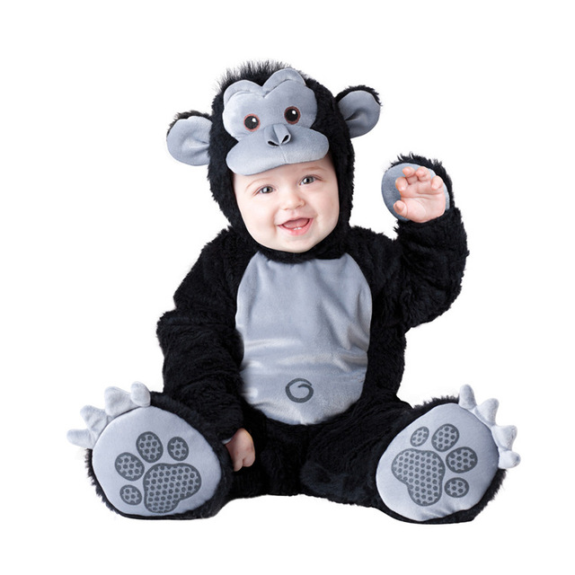 new baby halloween rompers cute animal cosplay boys jumpsuits black monkey shape baby costumes infants clothes