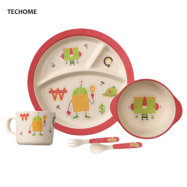 Portable Baby Tableware Set Bamboo Fiber Material Childrenu0027s Utensils Cartoon Plate Bowl Cup Spoon Fork Infant  sc 1 st  AliExpress.com & Portable Baby Tableware Set Bamboo Fiber Material Childrenu0027s ...
