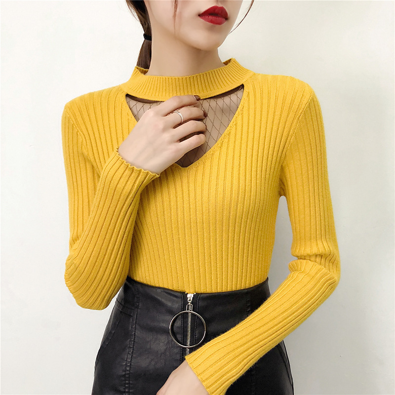 Sexy Elegant Lace Yarn Mesh Hollow Out Women Black Basic Sweater Lady's Yellow Pullovers Korean Female Sweaters Spring Knit Top